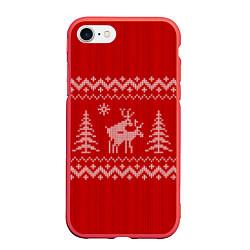 Чехол iPhone 7/8 матовый Олени под елками цвета 3D-красный — фото 1