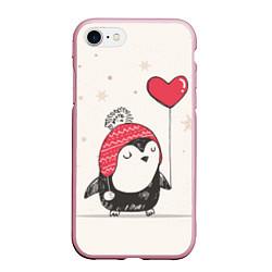 Чехол iPhone 7/8 матовый Влюбленный пингвин цвета 3D-розовый — фото 1