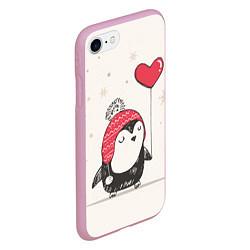 Чехол iPhone 7/8 матовый Влюбленный пингвин цвета 3D-розовый — фото 2