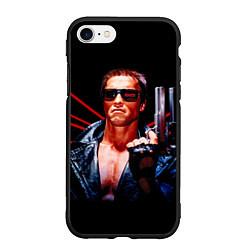 Чехол iPhone 7/8 матовый Терминатор с пистолетом цвета 3D-черный — фото 1