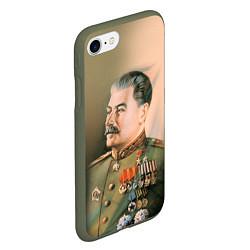 Чехол iPhone 7/8 матовый Иосиф Сталин цвета 3D-темно-зеленый — фото 2