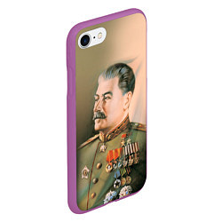 Чехол iPhone 7/8 матовый Иосиф Сталин цвета 3D-фиолетовый — фото 2