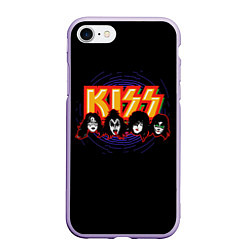 Чехол iPhone 7/8 матовый KISS: Death Faces цвета 3D-светло-сиреневый — фото 1
