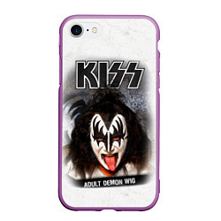 Чехол iPhone 7/8 матовый KISS: Adult demon wig цвета 3D-фиолетовый — фото 1