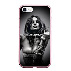 Чехол iPhone 7/8 матовый Девушка с цепью цвета 3D-розовый — фото 1