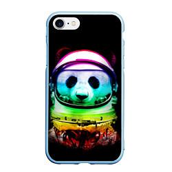 Чехол iPhone 7/8 матовый Панда космонавт цвета 3D-голубой — фото 1