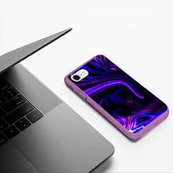 Чехол iPhone 7/8 матовый Цветные разводы цвета 3D-фиолетовый — фото 2
