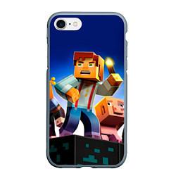 Чехол iPhone 7/8 матовый Minecraft цвета 3D-серый — фото 1