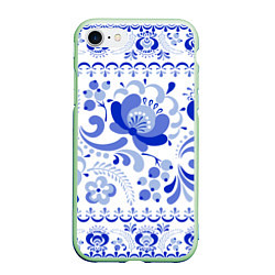 Чехол iPhone 7/8 матовый Гжель 2 цвета 3D-салатовый — фото 1