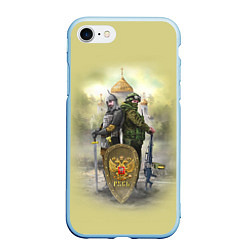 Чехол iPhone 7/8 матовый Имперская русь цвета 3D-голубой — фото 1