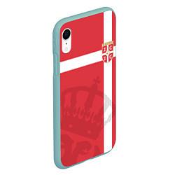 Чехол iPhone XR матовый Сборная Сербии цвета 3D-мятный — фото 2