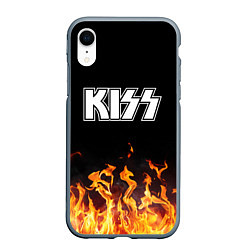 Чехол iPhone XR матовый Kiss: Hell Flame цвета 3D-серый — фото 1