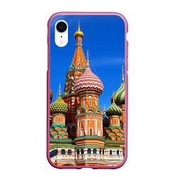 Чехол iPhone XR матовый Храм Василия Блаженного цвета 3D-малиновый — фото 1