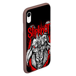 Чехол iPhone XR матовый Slipknot цвета 3D-коричневый — фото 2