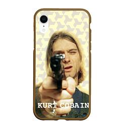Чехол iPhone XR матовый Кобейн с пистолетом цвета 3D-коричневый — фото 1