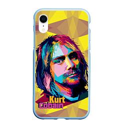 Чехол iPhone XR матовый Kurt Cobain: Abstraction цвета 3D-голубой — фото 1