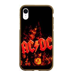 Чехол iPhone XR матовый AC/DC Flame цвета 3D-коричневый — фото 1