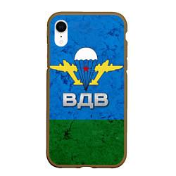 Чехол iPhone XR матовый Флаг ВДВ цвета 3D-коричневый — фото 1