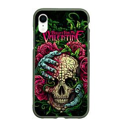 Чехол iPhone XR матовый BFMV: Roses Skull цвета 3D-темно-зеленый — фото 1