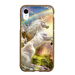 Чехол iPhone XR матовый Радужный единорог цвета 3D-коричневый — фото 1