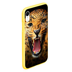Чехол iPhone XR матовый Рык леопарда цвета 3D-желтый — фото 2