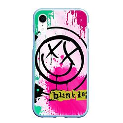 Чехол iPhone XR матовый Blink-182: Purple Smile цвета 3D-голубой — фото 1