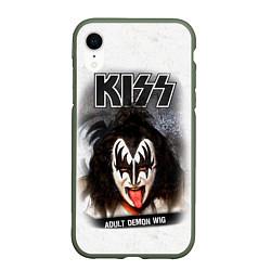 Чехол iPhone XR матовый KISS: Adult demon wig цвета 3D-темно-зеленый — фото 1