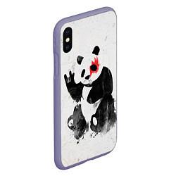 Чехол iPhone XS Max матовый Рок-панда цвета 3D-серый — фото 2