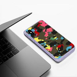 Чехол iPhone XS Max матовый Цветной камуфляж цвета 3D-светло-сиреневый — фото 2