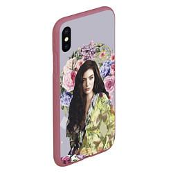 Чехол iPhone XS Max матовый Lorde Floral цвета 3D-малиновый — фото 2