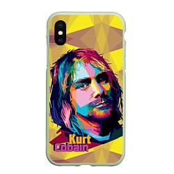Чехол iPhone XS Max матовый Kurt Cobain: Abstraction цвета 3D-салатовый — фото 1