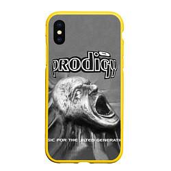 Чехол iPhone XS Max матовый The Prodigy: Madness цвета 3D-желтый — фото 1