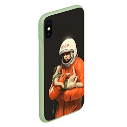 Чехол iPhone XS Max матовый Гагарин с лайкой цвета 3D-салатовый — фото 2