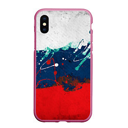 Чехол iPhone XS Max матовый Триколор РФ цвета 3D-малиновый — фото 1
