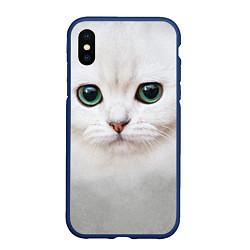 Чехол iPhone XS Max матовый Белый котик цвета 3D-тёмно-синий — фото 1