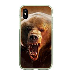 Чехол iPhone XS Max матовый Рык медведя цвета 3D-салатовый — фото 1
