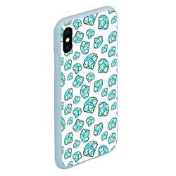 Чехол iPhone XS Max матовый Бриллианты цвета 3D-голубой — фото 2