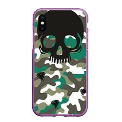 Чехол iPhone XS Max матовый Камуфляж цвета 3D-фиолетовый — фото 1