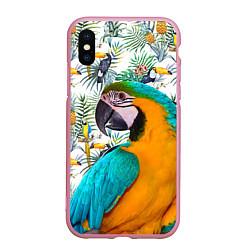 Чехол iPhone XS Max матовый Летний попугай цвета 3D-розовый — фото 1