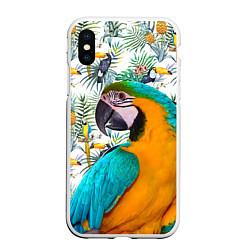 Чехол iPhone XS Max матовый Летний попугай цвета 3D-белый — фото 1