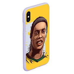 Чехол iPhone XS Max матовый Ronaldinho Art цвета 3D-светло-сиреневый — фото 2