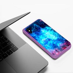 Чехол iPhone XS Max матовый Голубая вселенная цвета 3D-фиолетовый — фото 2