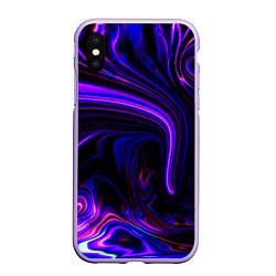 Чехол iPhone XS Max матовый Цветные разводы цвета 3D-светло-сиреневый — фото 1