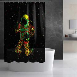 Шторка для душа Космонавт с кальяном цвета 3D-принт — фото 2