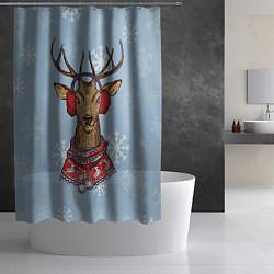 Шторка для душа Зимний олень цвета 3D-принт — фото 2