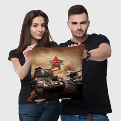 Подушка квадратная Танковые войска РФ цвета 3D — фото 2