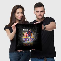 Подушка квадратная Messi FCB цвета 3D-принт — фото 2