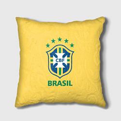 Подушка квадратная Brazil Team цвета 3D-принт — фото 1