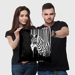 Подушка квадратная Жидкая зебра цвета 3D-принт — фото 2