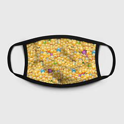 Маска для лица Смайлики Emoji цвета 3D-принт — фото 2